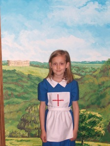 """Katie playing dress up at Castle Howard. AKA, """"Someone call the medic, they are opening the cheese!"""""""