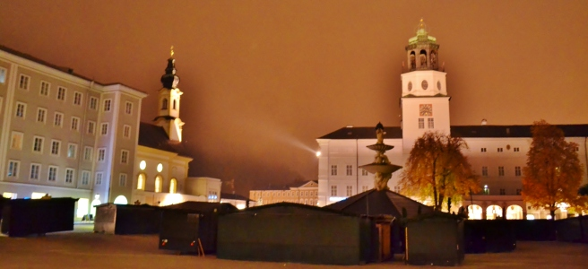 Preparations in Salzburg, on a foggy night.