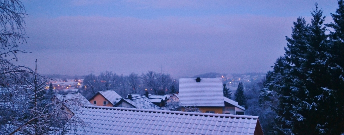 Snow-covered rooftops looking out over my village in Germany