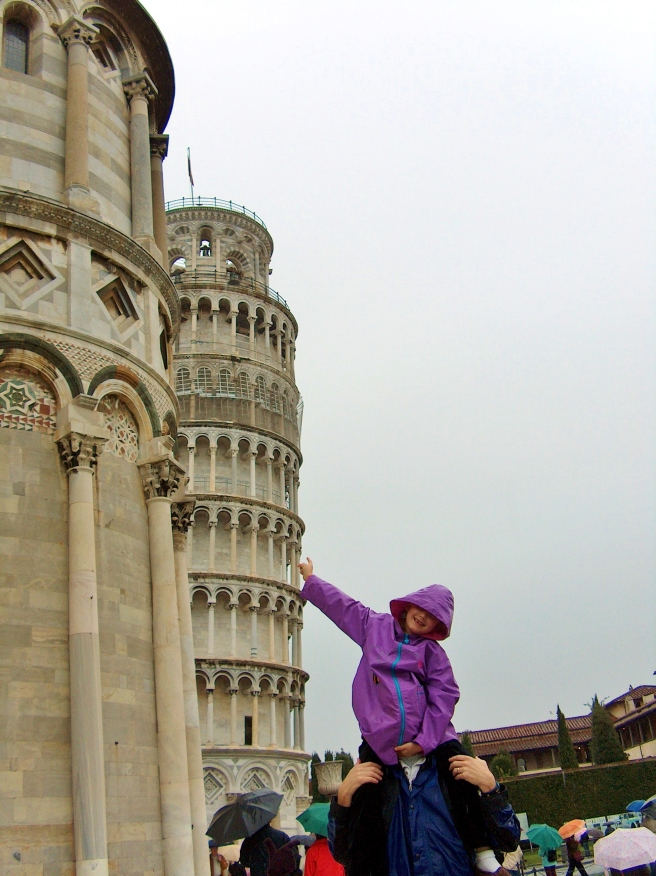 Misaligned photo of that crooked Leaning Tower of Pisa.  And somehow my husband's head has been obscured by my daughter's raincoat. Nothing lined up right here!