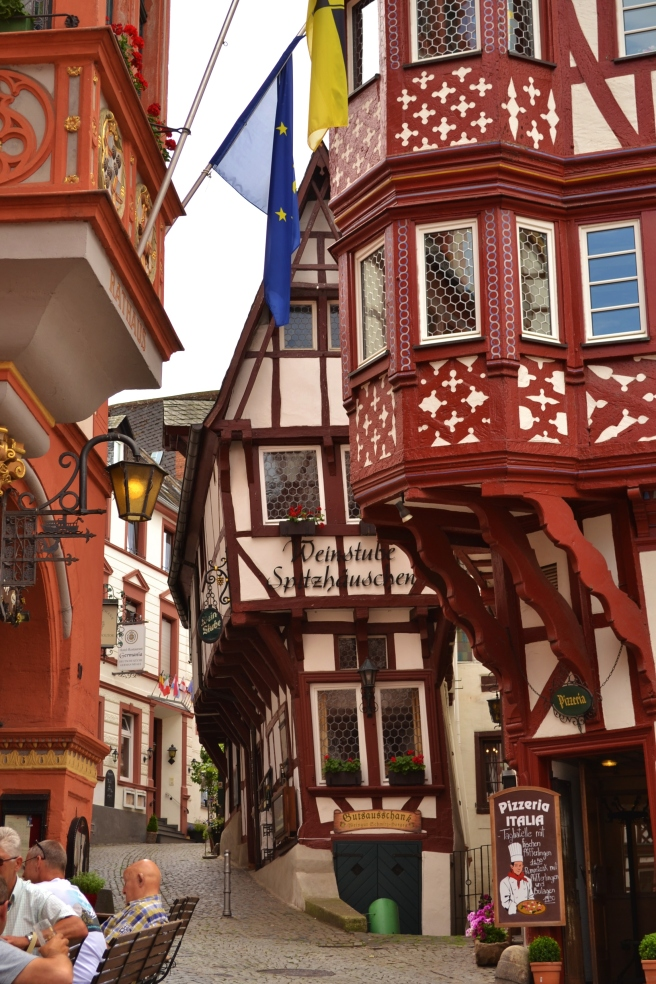 Spitzhausen (from the 1400's): A gloriously crooked house in Bernkastel-Kues leans in toward the street.