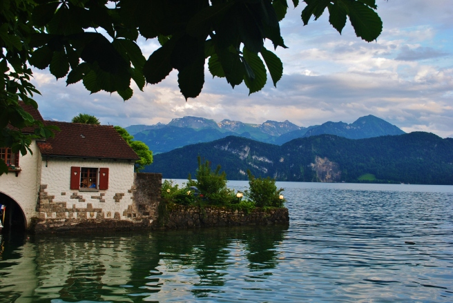 Night begins to fall on Lake Lucerne, by our hotel in Weggis