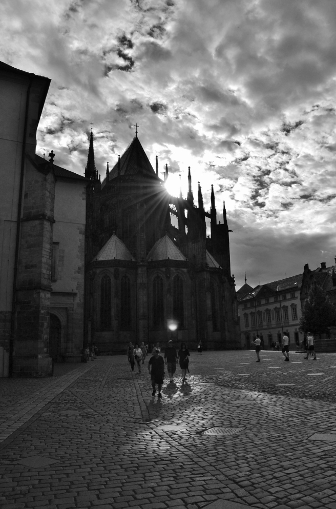 Sun goes down over St. Vitus Cathedral, Prague