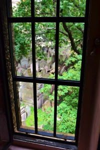 Attic view of the Old Jewish Cemetery in Prague