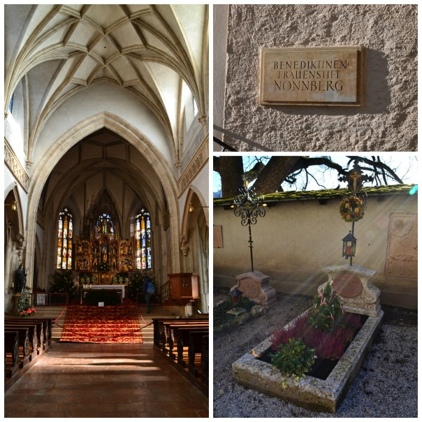Nonnberg Abbey--sign, beautiful chapel, and graveyard. I love the light rays spilling over the Abbey wall and onto this grave--I think someone is trying to send us a Merry Christmas message.