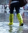 Makeshifts waders in Venice acqua alta.