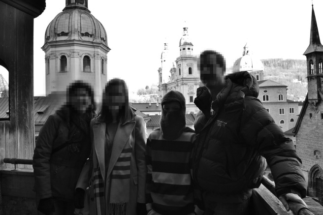 Bashful travel companions, Salzburg 2015. My son came prepared to erase his identify from any photographic evidence.