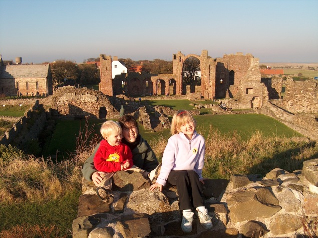 With kids in Lindesfarne, Northumberland, UK