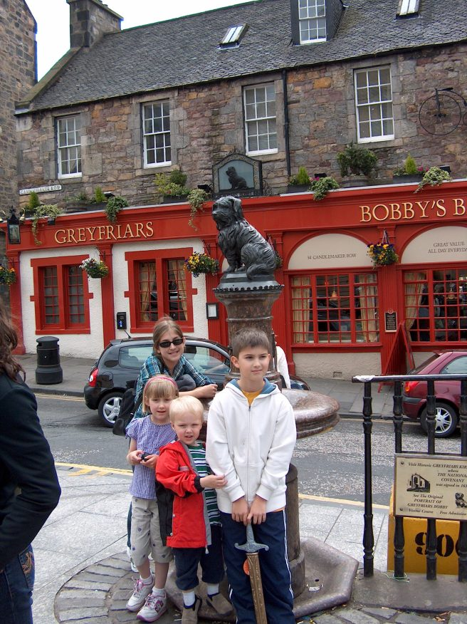 Cousins in Edinburgh, at Greyfriar's Bobby Memorial ,2007 or 2008