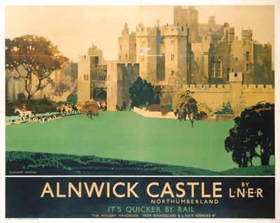 Old Railway Poster: Alnwick Castle, aka Hogwarts. (Alnwick was used in many scenes from the Harry Potter films.)